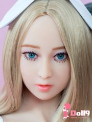140cm (4ft7″) D-cup addled & careless Russian Megan with baby fat face, bright blue eyes