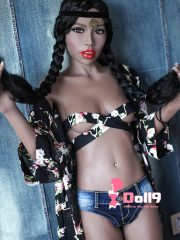 165cm (5ft5″) A-cup African bony flat chest Gemma with protruding fat lips, small boobs and thin body